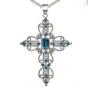 Silver & Blue Stone Cross Necklace